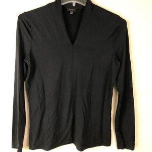 TALBOTS Black Knit Long Sleeve V Neck Top Size Med